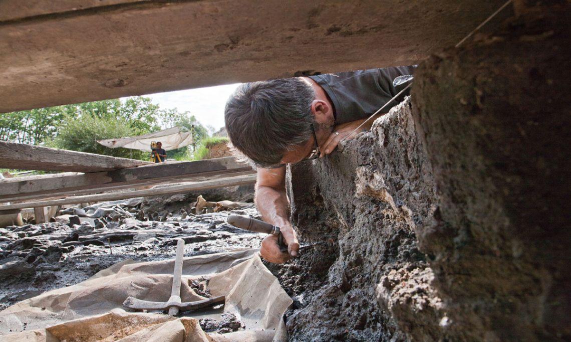 Arqueòleg treballant a l'excavació la Draga (Arqueoxarxa, Josep Casanova)