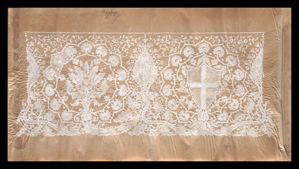 Design by Marià Castells for the altar cloths of Chapel of Sant Jordi. Photo: David Castañeda.