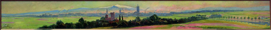Inv. 2740. Joan Vila Cinca, Panoràmica de Sabadell, 1910. Oli s. tela, 55x512 cm.