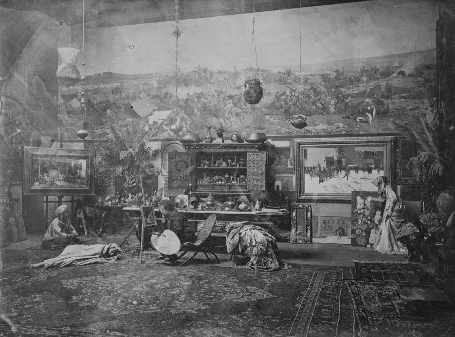 Autor desconegut Taller de Fortuny a Roma, cap a 1873-1874 Còpia moderna Institut Amatller d'Art Hispànic - Arxiu Mas, Barcelona
