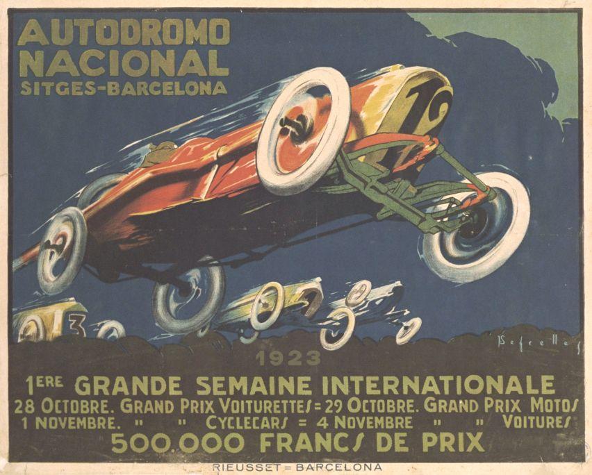Cartell de l'Autòdrom de Sitges 1923 Litografia sobre papel Col·lecció particular
