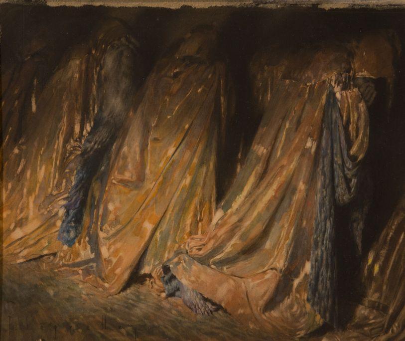 Els Hipòcrites. Vestits amb magnífiques capes daurades per fora, però de pesat plom per dins (La Divina Comedia)  1929 1928 Aquarel·la sobre paper Col·lecció particular