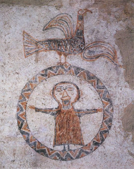 Orant, decoració mural de l'església de Sant Quirze de Pedret (Berguedà), final s. X-inici de l'XI.
