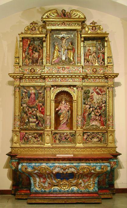 Retaule de la Marededéu del Roser, de l'església de Sant Martí de Riner (Solsonès), s. XVII.