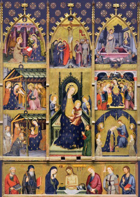 Retable des Goigs de la Verge d'Abella de la Conca (MDU 71), gothique catalan, Pere Serra, XIVe siècle.