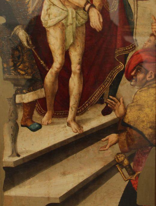 Camí del Calvari, atribuït a Pere Mates, segle XVI, oli i tremp sobre taula, 111 × 40,5 cm