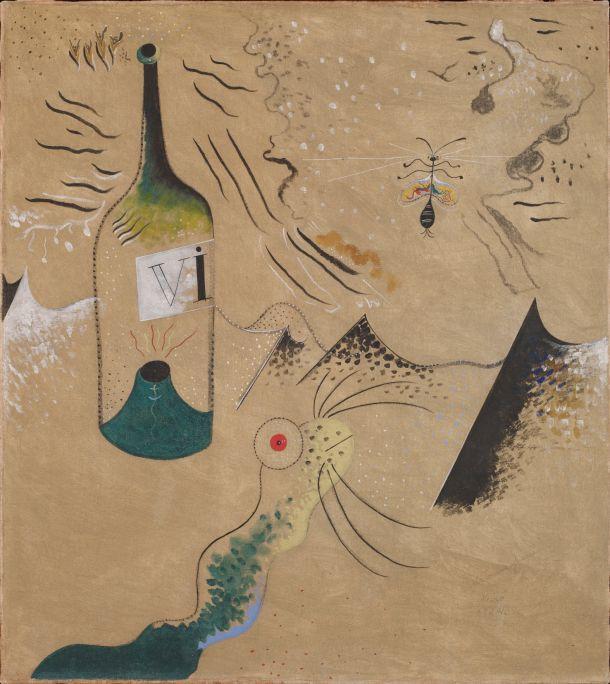 Peinture (la bouteille de vin), Joan Miró, 1924, huile sur toile, 73,5× 65,5 cm, fondation Joan Miró, Barcelone. Dépôt d'un collectionneur privé