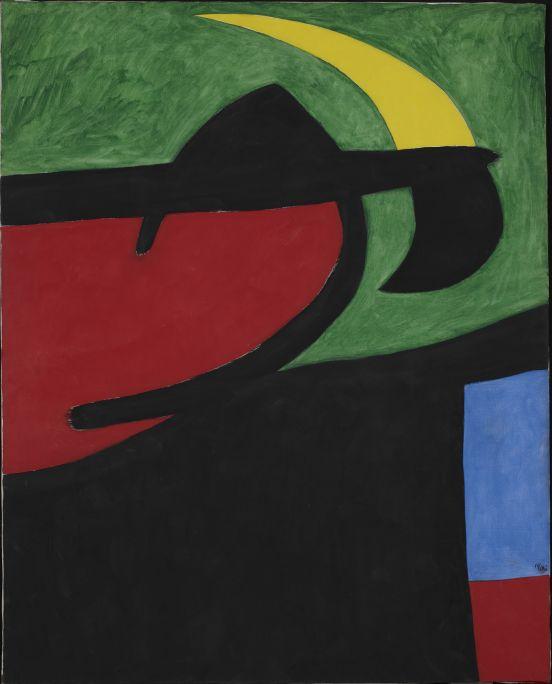 Pagès català al clar de lluna, Joan Miró, 1968, acrílic damunt tela, 162 × 130 cm, Fundació Joan Miró, Barcelona. Dipòsit de col·lecció particular