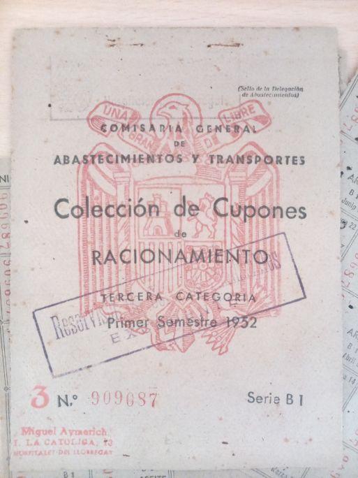 Cartilla de cupons de racionament, Comisaria General de Abastecimientos y Transportes, primer semestre del 1952