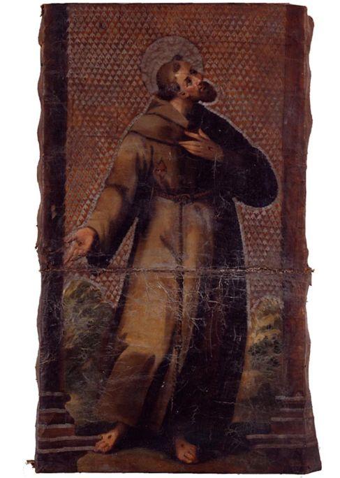 Imatge de sant Francesc, segle XVII, guadamassil, pell daurada, policromada i ferretejada,79 × 46 cm, Espanya