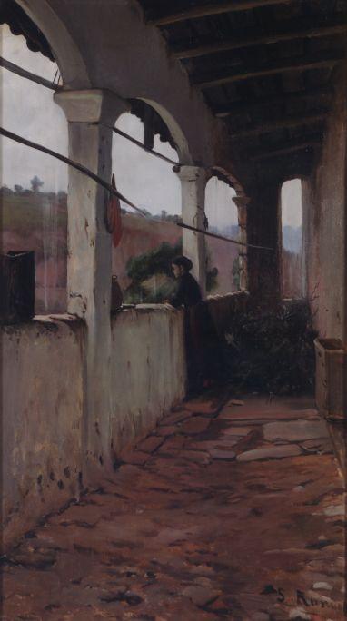 Tarde de lluvia, también llamadaEl porxo del jardí (El porche del jardín), Santiago Rusiñol, 1889, óleo sobre tela, 124 × 68,5cm