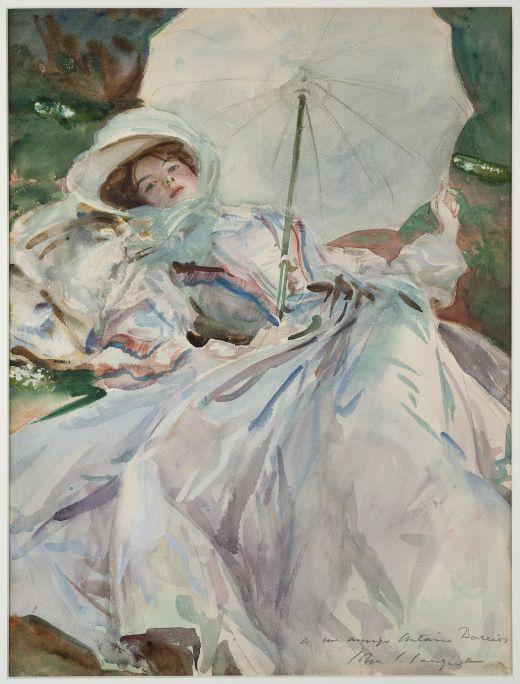 La dama de l'ombrel·la, John Singer Sargent, 1911. Aquarel·la, 65 × 54 cm. Donació J. Sala Ardiz.