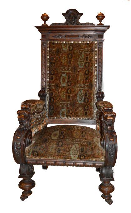 Armchair, Pere Sabater i Armengol, c. 1888, jacaranda wood and printed velvet upholstery, 52 × 70 × 77 cm. MdT 15275 Photo: Terrassa Museum