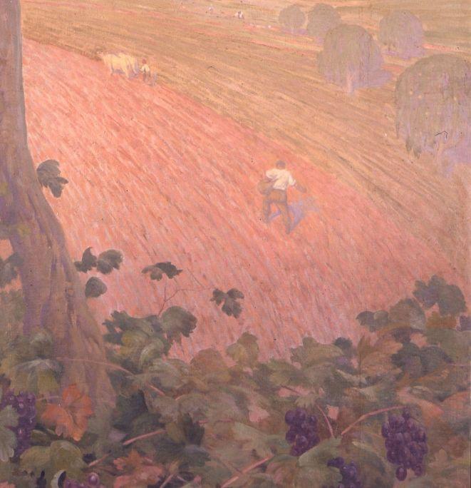 Pintura al óleo sobre tela adherida al muro (detalle), Pere Viver i Aymerich, 223 × 100,5cm. MdT 13.063 Foto: Museo de Terrassa