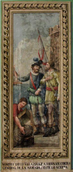 Diego Velázquez nomena Hernán Cortés cap de l'armada, Josep Arrau i Estrada (atribuïda), principis del segle XIX, pintura mural al tremp. Foto: Museu de Terrassa