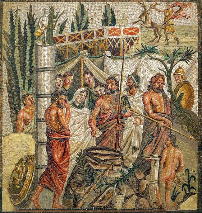 Vista frontal del mosaico romano del Sacrificio de Ifigenia