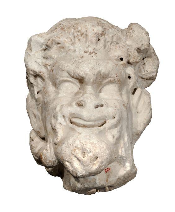 Tête de satyre réalisée en marbre blancprovenant sansdoute de Luni-Carrare. Elle vient certainement de Tarragone.