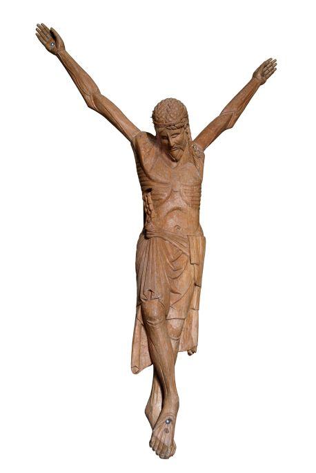 Crist romànic originari de l'església de Perves, obra emblemàtica de la imatgeria romànica lleidatana.