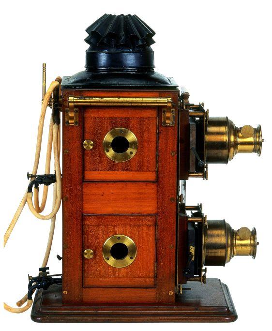 Linterna mágica de doble objetivo, Butcher & Sons Ltd. Biunial, Gran Bretaña, c. 1880