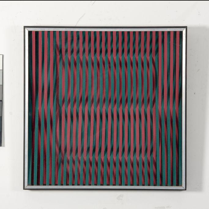 Incisió complementària amb espai (Incision complémentaire avec espace), 1969, petit carton, technique mixte, méthacrylate et bois, 59 × 59 × 6,2cmh