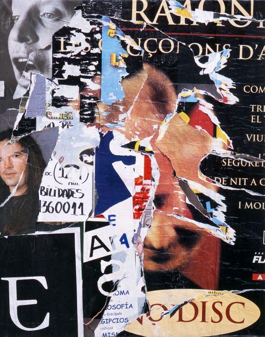 Barcelone, Jacques Villeglé, 2002, carteles rasgados encolados sobre lienzo