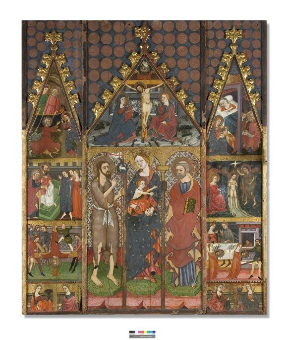 Atribuït Guillem Ferrer, Retaule de la Mare de Déu, sant Joan Baptista i sant Pere Apòstol, c.1390-1400, tremp, pa d'or i fulls metàl·lics sobre fusta de pi