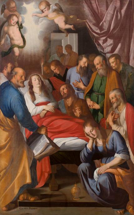 El tránsito de la Virgen, Mateo Gilarte y Francisco Gilarte, 1651. Óleo sobre tela, 227 x 145 cm. Museo de Arte de Girona - Depósito Museo Nacional del Prado.