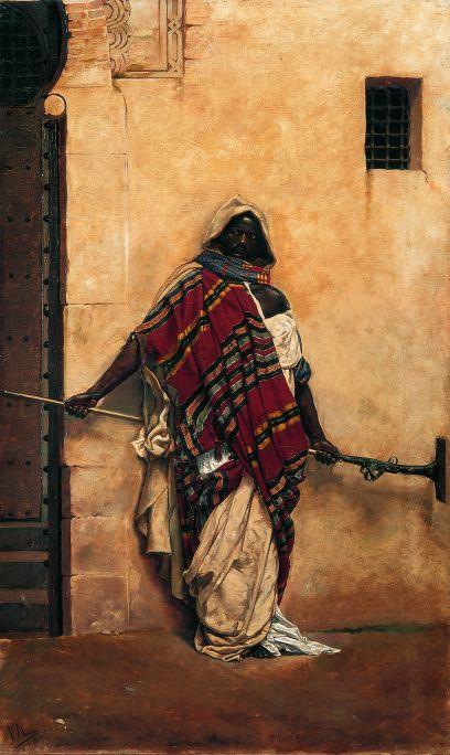 Inv.: 197. Vicenç Miquel Pous, Sentinella àrab, 1893. Oli s., tela, 77x47 cm.