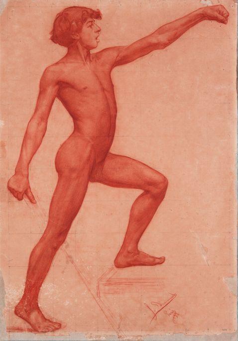 Inv.: 2099. Josep Domènech Samaranch, Acadèmia, París, 1896. Llapis i carbó s. paper Ingres, 61x48 cm.