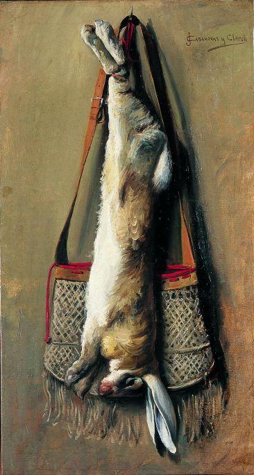 Inv.: 3740. Josep Casanovas Clerch, Conill i bossa de caça, s.d. , oli s. tela, 95x51'5 cm.