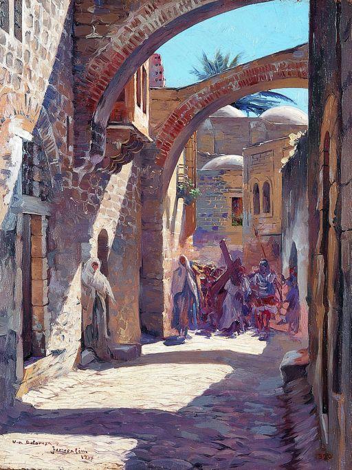 Inv.: 320. Antoni Estruch Bros, Via dolorosa, Jerusalen, 1907. Oli s. tela, 36x27 cm.