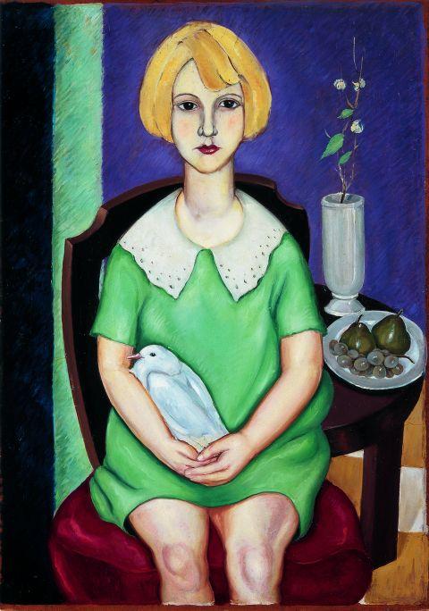 Inv.: 314. Josep Vives Bracons, Nena amb colom, c. 1928. Oli s. fusta, 70x49'5 cm.