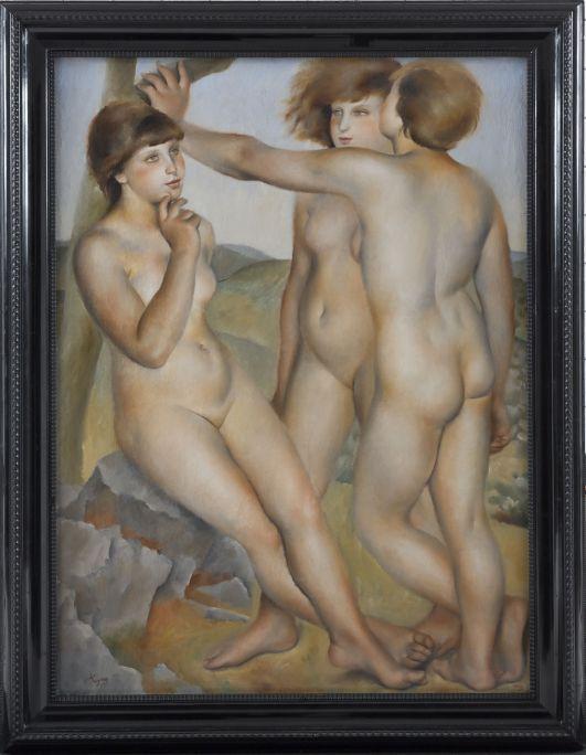 Tres desnudos. Josep de Togores Llach. París, 1924. Óleo sobre lienzo. Depósito del Museo Nacional de Arte de Cataluña.