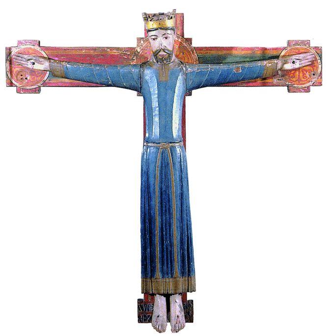 Christ en majesté, XIIe siècle. Sculpture en bois polychrome 103 x 106 x 11,2 cm. Monastère de Sant Miquel de Cruïlles. Musée d'art de Gérone - Fonds de l'évêché de Gérone.