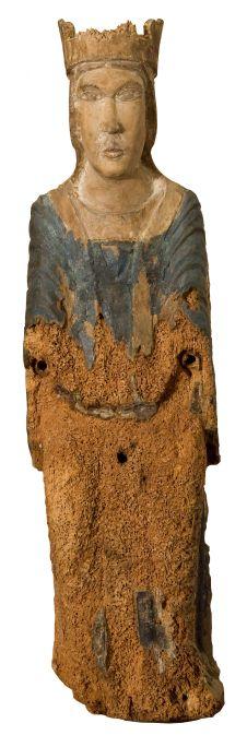Mare de Déu del Salvador, segona meitat del segle XII. Talla de fusta policromada, 67,5 x 19 x 14,5 cm. Ermita de Sant Salvador, Cofolis. Museu d'Art de Girona - Fons Bisbat de Girona.