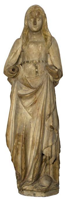 Santa Coloma, posterior a 1340. Alabastre policromat, 123 x 42 x 36 cm. Església de Santa Coloma, Siurana. Museu d'Art de Girona - Fons Bisbat de Girona.