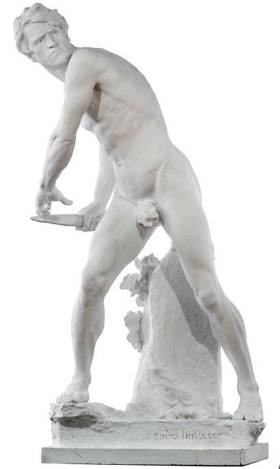Contra l'invasor, Miquel Blay i Fàbregas, 1891. Modelat de guix, 165 x 74,5 x 90 cm. Museu d'Art de Girona - Fons d'Art Diputació de Girona.