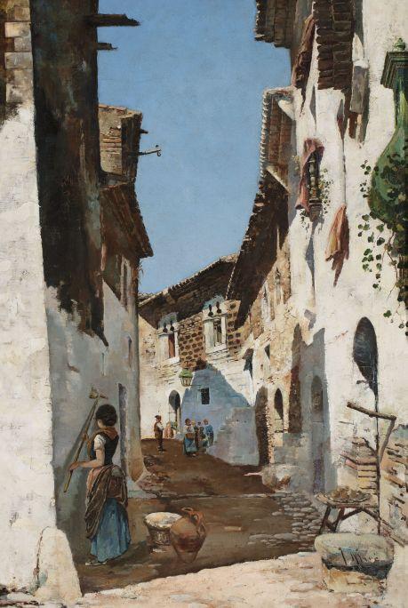 Joaquim de Miró i Argenter (Sitges, 1849-1914) Carrer d'en Bosch. Sitges, cap a 1880 Oli sobre tela Museu de Maricel, Sitges. Adquisició del Consorci del Patrimoni de Sitges, 2016