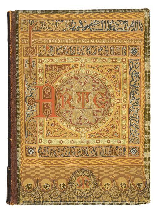 Lluís Domènech i Montaner (Barcelona, 1850-1923) Cubierta de Historia del Arte, 1886 Impresión sobre tela editorial Biblioteca de Catalunya, Barcelona