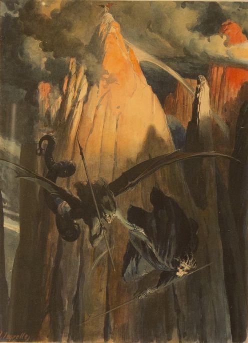 En sentir-ho, el Pecat i la Mort es precipitaren joiosos sobre la Terra  1914 Aquarel·la sobre paper Col·lecció Vicente Segrelles