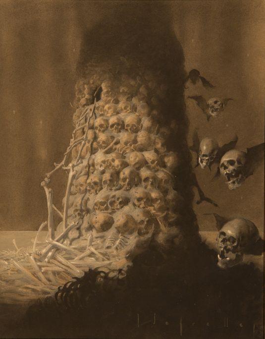 Torre de cranis 1921 Tècnica mixta sobre paper Casa-Museo José Segrelles, Albaida (València)