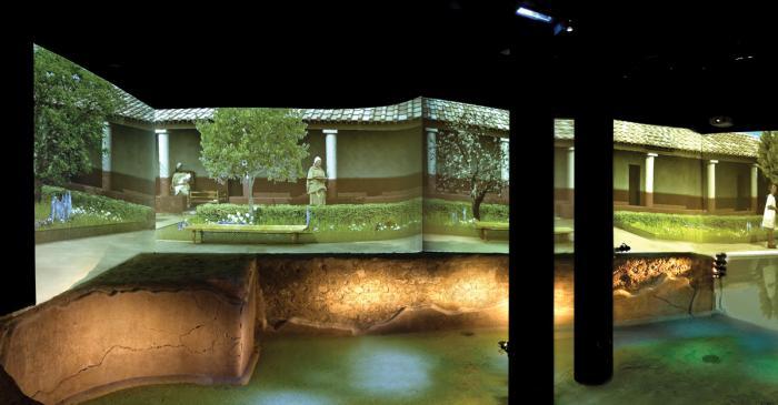 <p>Vue du bassin du jardin de Quintus Licinius.&nbsp;Photo d'Antonio Gill&eacute;n, Mus&eacute;e de Badalona.</p>