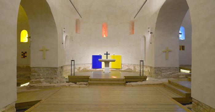 <p>Interior de l&rsquo;esgl&eacute;sia de Santa Cec&iacute;lia de Montserrat.</p>