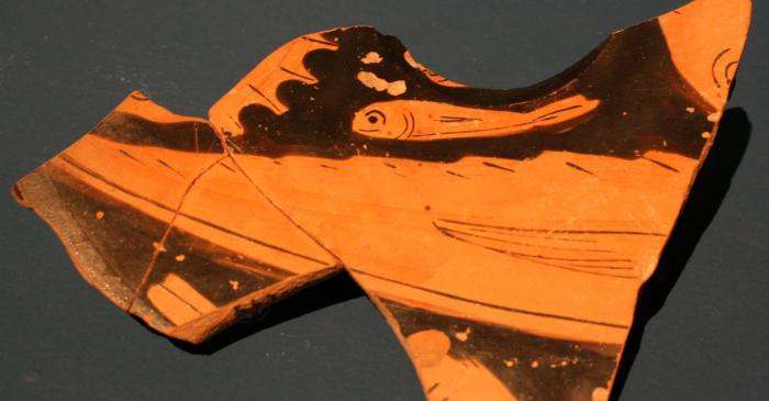 <p>Plaque de c&eacute;ramique de l'Attique (fragment).</p>