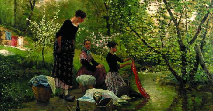 <p>Les bugaderes, Joaquim i Mari&agrave; Vayreda, 1883. Oli sobre tela.</p>