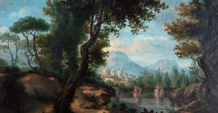 <p>Sense t&iacute;tol (paisatge), Joan Carles Pany&oacute; i Figar&oacute;, 1802 i 1840. Oli sobre fusta.</p>