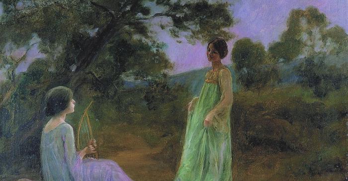 <p><em>Paisaje nocturno con dos muchachas</em>, Joan Brull i Vinyoles, s. d., &oacute;leo sobre tela, 63 &times; 80 cm</p>