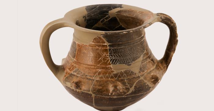 <p>Vaso de cer&aacute;mica ib&eacute;rica, conocido como <em>Vaso de las Naves</em>, siglo IV a. C. Dep&oacute;sito de la Universidad de Barcelona</p>