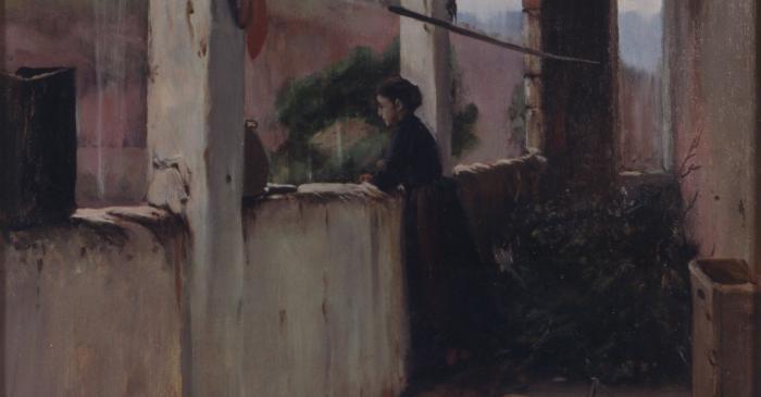 <p><em>Rainy Afternoon</em>, also called&nbsp;<em>The Garden Porch</em>, Santiago Rusi&ntilde;ol, 1889. Oil on canvas, 124x68.5 cm.</p>