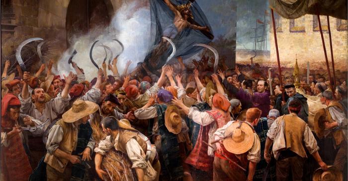 <p><em>Els segadors</em> (The Reapers), Antoni Estruch, 1907, oil on canvas, 262 &times; 404 cm</p>